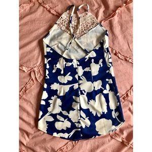 Short beach floral crochet cross back dress size S